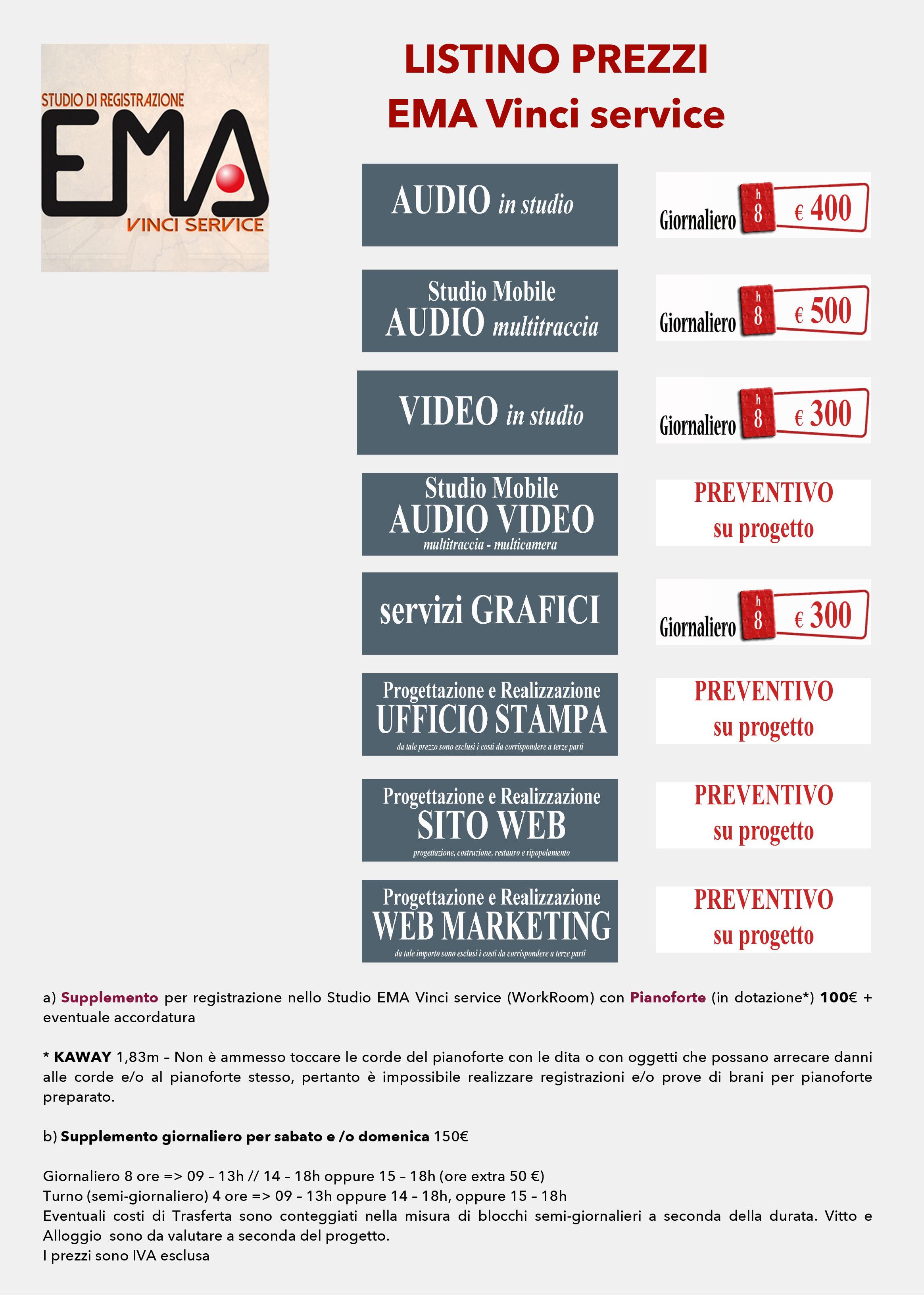 Listino prezzi ema vinci service for Listino prezzi presotto